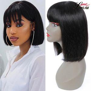 Straight Bob Menschliche Haarperücken mit Pony Brasilianischer Vollautomat Human-Haarperücken für Frauen 150% Remy Hair Perücken