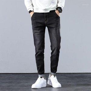 2021 Otoño Hombres frescos Jeans rectos Negocio Moda Marca Estiramiento Longitud Pantalones Masculino Gris Casual Denim Nim Trausped Harem Pantalones1