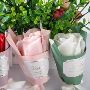 Artificial Rose Flower Bouquet Soap Rose Flowers Birthday Valentines Day New Year Gift Mini Rose Bouquet Artificial Flower Decor DBC BH4642