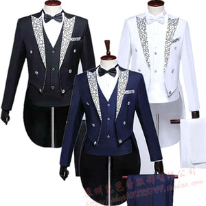 Men's tuxedo men's gown groom host stage chorus performance suit