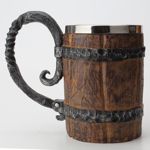 Wooden Barrel Stainless Steel Resin 3D Beer Mug Goblet Game Tankard Coffee Cup Wine Glass Mugs 550ml BEST GOT Gift