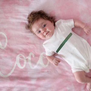 Bebek Süveter Moda Mektupları tulum Erkekler Kızlar Bebek Unisex Kısa Kollu Tulumlar Çocuk Çocuk Nefes Onesies yazdır