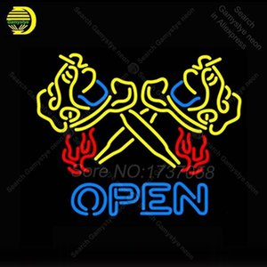 Flaming Tattoo Machine OPEN Neon Sign Neon Bulbs sign Handcraft Iconic Sign light Lamps display advertise enseigne lumine