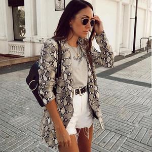 여성용 정장 블레이저 2021 긴 소매 코트 여성 겉옷 여성 영국 스타일 뱀 인쇄 블레이저 포켓 노치 칼라