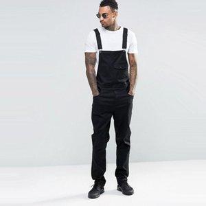 Homens jeans branco jumpsuits outono casual solto sleeveless denim bib macacão para homem magro suspender calças pretas pantalones babero1