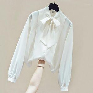 Long Sleeve V-Neck Office White Blouse Tops Blouse Women Blusas Mujer De Moda 2020 Chiffon Womens Tops and Blouses D7631