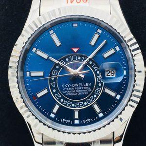 N Sky-Dweller 326934 estriado Bisel Negro Dial Marcadores Stick A9001 automática del reloj para hombre pulsera de acero inoxidable Oyster Mejor Edición Puretime