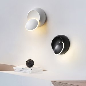 LED Wall Lamp 360 degree rotation adjustable bedside lights white Black creative wall lamp Black modern aisle round lamp
