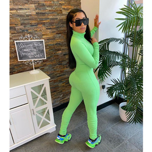 Ladies jumpsuit solid color jumpsuit long-sleeved jumpsuit tight overalls sexy club outfit summer clothing slim fit one piece pants plus siz