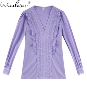 2020 Autumn Lace Patchwork Woman Shirts V-Neck Long Sleeve Pullovers Women Blouses Comfortable Tops T08602K