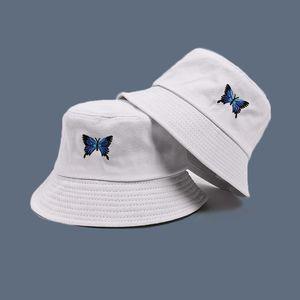 와이드 브림 모자 블루 나비 하라주쿠 어부의 자외선 차단제 캐주얼 해변 태양 모자 야외 유니섹스 양동이 모자 접이식 코튼 파나마 모자
