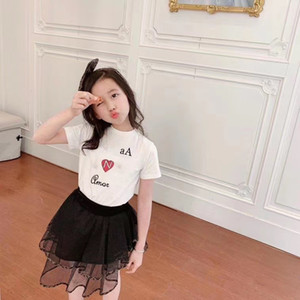 free shipping Children's Girls Clothing Sets 2021 Summer New Style Short Sleeve T-Shirt+Tutu Skirt 2Pcs Suits Baby Girl Clothes