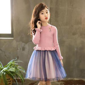Girl's Dresses Girl Dress Flower Embroidery Kids Sweater DressPetal Sleeve Knitted Children Autumn Winter Warm Clothes For Girls