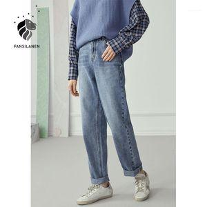 Fansilanen Tash Tassels Случайные синие прямые джинсы женские джинсовые высокие талии парней джинсы негабаритные женские винтажные штаны 20201