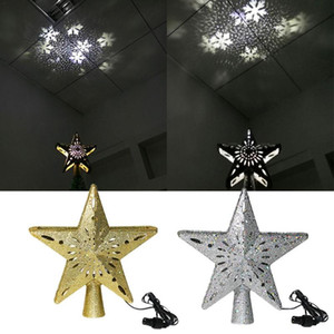 Christmas Tree LED Star Tree Topper 3D Hollow Star Lighted Topper With Rotating Snowflake Projection Light For Christmas #D