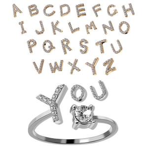 Moda 26 Letras iniciales Anillos ajustables para mujeres Crystal Inglés Alfabeto oro plata anillo regalo 316 g2