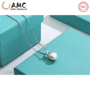 AMC Tiff925 Silver Pendant Pearl Necklace Female Jewelry Superb Craftsmanship Official Logo Classic Pearl Elegant Fashion Necklace Wholesale
