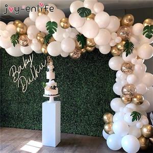 104 stücke Weißgold Konfetti Ballon Girlande Bogen Palm Leaf Kit Für Geburtstagsfeiern Hochzeit Ballons Dekorationen Baby Dusche Mädchen