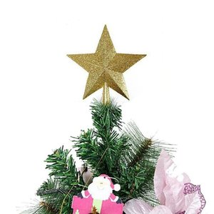 Glittering Star Christmas Tree Topper Shatter-Resistant Plastic Star Ornaments Christmas Tree Decoration Decor Gift