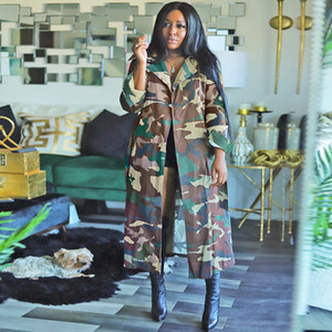 Camouflage Loose Womens Trench Coats Mid-calf Cool Long Sleeve Casual Fashionable Women Outerwear All Match Clothing