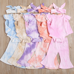 kids clothes girls outfits infant Tie dye Flying sleeve Tops+Flared pants+Headbands 3pcs sets Spring Autumn baby Clothing Sets Z1924