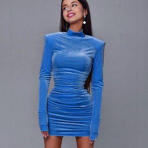 Autumn women's 2020 sexy Turkey long sleeve long skirt pencil short blue black Festival Party Dress