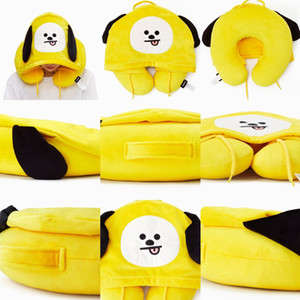 7 Colors Cartoon Stuffed Plush Animal Hat Cushion With U Shaped Heat Neck Pillows Lovely Cute Colorful Embroidered Pillows AAF2807