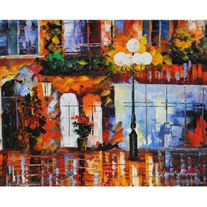 Leonid Afremov « Vieille Ville » Home Décor Artisanats / HD huile d'impression Peinture Sur Toile Art mur toile Photos 201006