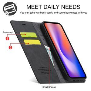 Caja de cuero magnética de cuero magnético retro de primera calidad para iPhone 12 11 Pro Max XR x XS MAX 7 8 6s Plus para Samsung S10 S20 Nota 20 Ultra