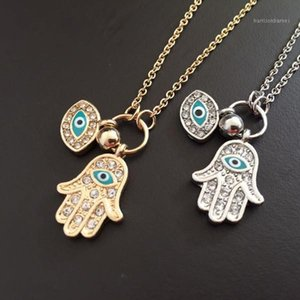 gold and turkish Judaica Hand of Fatima Pendant Evil Eye Necklace Crystal Enamel Jewelry for woman fashion 20201