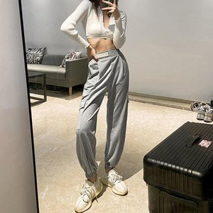 Women Casual Pants With Pocket Stitching Loose Pants Female Autumn Full Length Streetwear Spring Polyester Gray Trousers