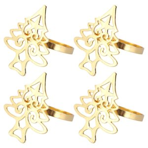 4Pcs Napkin Buckles Christmas Tree Shape Alloy Napkin Holders for Dinner