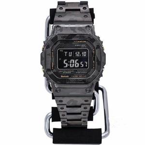 relógio dos homens de esportes casuais GMW-B5000 LED display digital relógio eletrônico dobrável correia de aço camuflagem fivela de alta qualidade