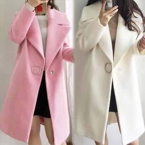 White Ruffle Warm Winter Coat Women Turndown Long Coat Collar Overcoat Female Casual Autumn 2019 Pink Outerwear Plus Size J30