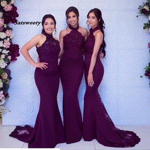 Cheap Sexy Grape Mermiad Bridesmaid Dress High Neck Lace Applique Wedding Guest Black Girls Maid of Honor Gowns Formal Evening Party Wear
