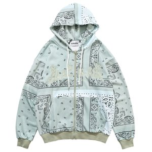 Herren Hip Hop Pullover Hoodies Gestickter Bandana Patchwork Voller Reißverschluss Mit Kapuze Sweatshirts Jacken Harajuku Casual Tops 201020