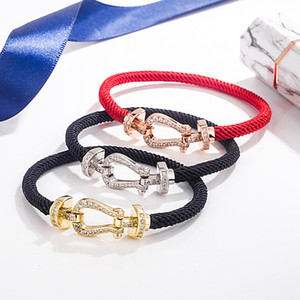 Year of Life red rope bracelet s925 sterling silver horseshoe buckle micro-inlaid full diamond red rope bracelet bracelet rope