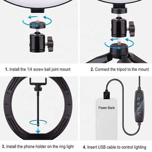 "2021 new 26cm10"" Lamp Bluetooth Remote USB Desk Mini Ring Fill Light Phone Steam Makeup, Led Circle Selfie Ring Light With Tripod Stand"