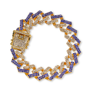 Bracelets d'or hommes bracelets de diamant bleu noir Bijoux mode de bijoux glacé Miami Cuban Link Bracelet 8inch