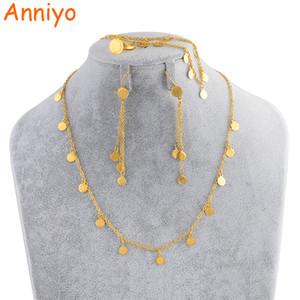 Anniyo Petite pièce de monnaie Ensemble de bijoux, collier Boucle d'oreille Bracelet Bague Gold Couleur Bijouterie arabe Monnaies pour enfants # 049706 Y200602