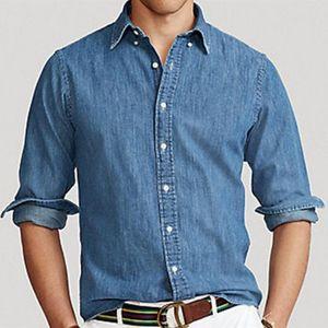 Small Horse Crocodile Cotton Denim Tommi Jeans Shirts Camisa Masculina Men Long Sleeve Shirts Social Hombre Chemises Homme