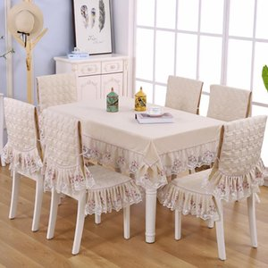 Delicate Double Lace Edge Table Cloth for Wedding Dinning Table Cover Chair Cover Mats Set Solid Color Tablecloth Chair