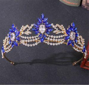Wedding Bridal Crystal Crown Rhinestone Tiara Red Blue Silver Headband Hair Accessories Jewelry Party Prom Women Fashion Headdress Headwear