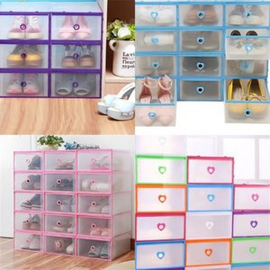 Plastic Frame Shoe Storage Box Peach Heart Style Transparent Drawer Organizer Case Man Woman Plastic Shoes Rack 5rm2 L1