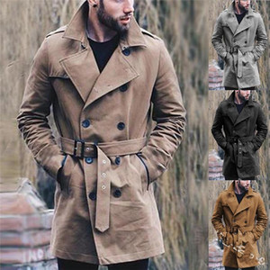 Trench Coats Solid Color Slim Double Breasted Windbreaker Coat Lapel Neck Casual Men Outerwear Clothing with Sash Plus Size Mens