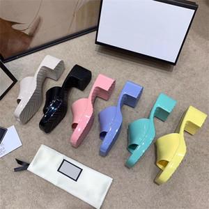 Yeni Kadın Kauçuk Slayt Sandal Platformu Sandalet Yüksek Topuklu Terlik Tıknaz Alt Sandalet Açık Plaj Çevirme Parti Ayakkabı Şeker 9 Renkler 267