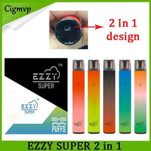 Ezzy Super 2 en 1 Diseño Vape desechable 900mAh BATTING 6.5ML POD 2000 Puffs PK Kangvape Onee