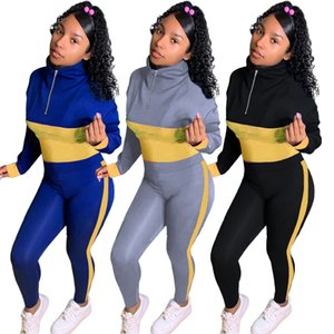 Womens Two Piece Sweatshirts Outfits Winter Casual Tracksuits Contrast Color Zip High Neck Long Sleeve Sweatshirt Sweatpants Set Blue Gray