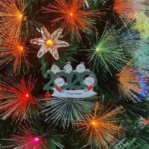 Familia Árbol de Navidad Colgante Survivor Aislamiento PVC Máscara Muñeco de nieve Colgante Colgante Amazon DIY Nombre Saludos Decoración Adorno 3D EWD2038