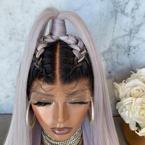 Larga parte media ombre gris brasileño peluca llena del cordón Pre desplumados Ombre color 13x4 sintética del frente del cordón de la peluca para las mujeres puede ser trenzado